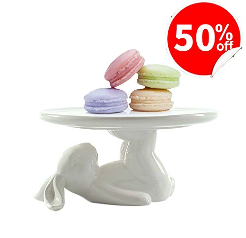 LA JOLIE MUSE Cupcake Stand Ceramic Dessert Plates for Snacks and Cookies, 6.6 Inch White, Bunny Party Kitchen (Afternoon Tea Plate)