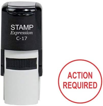 Red Ink Action Required Round Office Self Inking Rubber Stamp A-6995 StampExpression