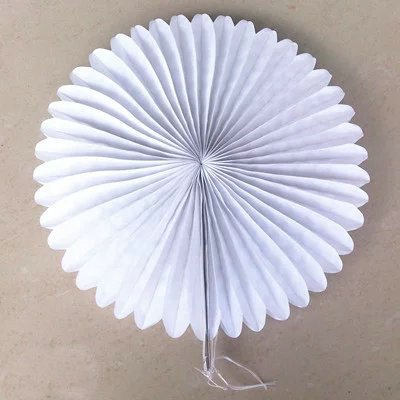 Somnr® Pack of 5pcs 16 inch Tissue Paper Fans Paper Flower Tissue Fan Decoration Party Wedding Baby Shower Decoration (White)