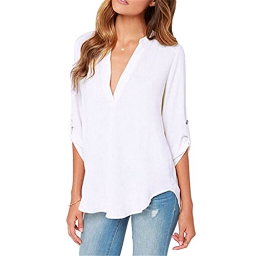 Shirt Lache Top Casual Femme T Cou Tunique Pour Chemisier Blanc en Longues Chiffon Manches Haut Decha V t Blouse qXSRx