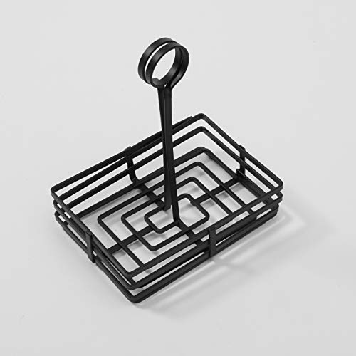 - American Metalcraft FWC68 Rectangular Wrought Iron Condiment Rack Basket with Display Handle, 6