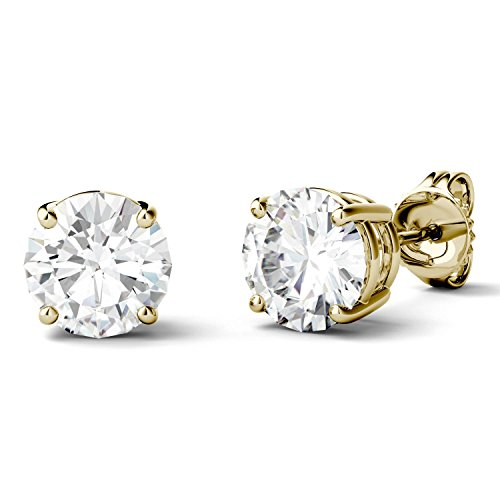 (14K Yellow Gold Moissanite by Charles & Colvard 6.5mm Round Stud Earrings, 2.00cttw DEW)