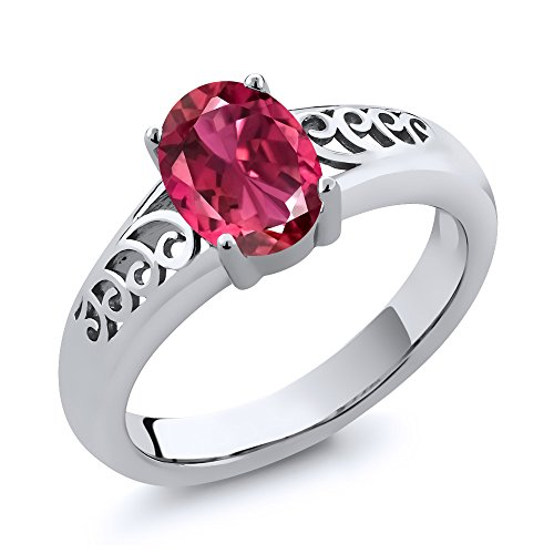 - Gem Stone King 0.70 Ct Oval Pink Tourmaline 925 Sterling Silver Ring (Size 9)
