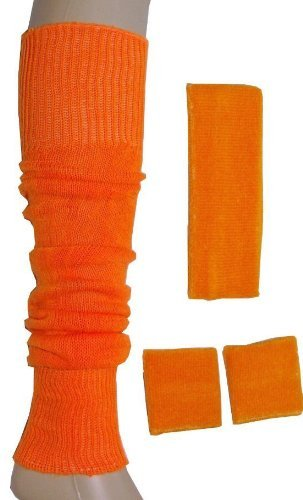 B&S Trendz Neon Sweatband/ Headband, 2 Wristbands & Legwarmers Set 1980S Fancy Dress]()