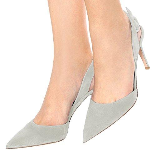 on Shoes Slingback Slip Heels YDN Grey High Women Slide Pointed Pumps Stiletto Toe wnqHCSRF6x