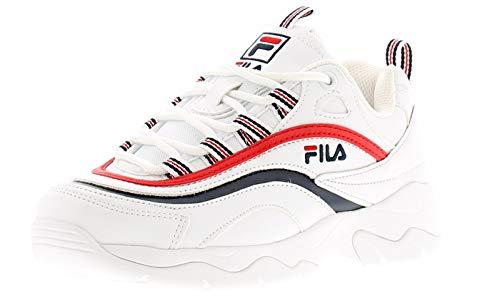 Fila Women's Disruptor II Premium Sneakers, Fila Red/Black/White, 7.5 M US