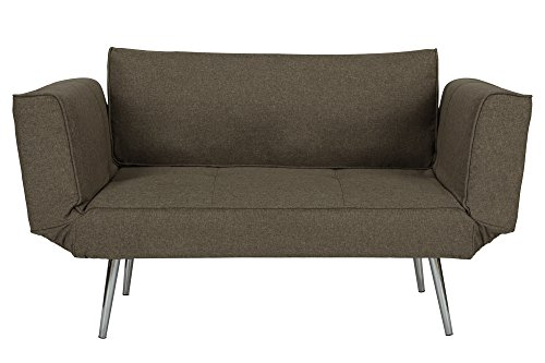DHP Euro Sofa Futon Loveseat with Chrome Legs and Adjustable Armrests - Gray