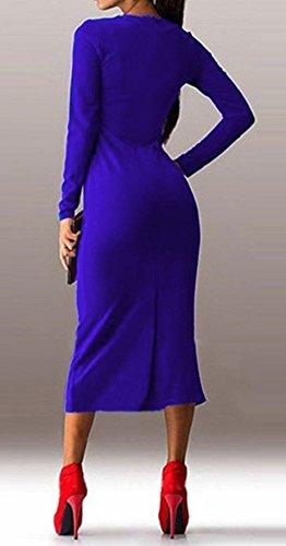 Cx Mode Manches Longues Élégant Femmes Mince Robe De Soirée De Fête Moulante Bleu
