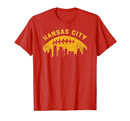 Vintage Kansas City Cityscape Retro Football Graphic T-Shirt