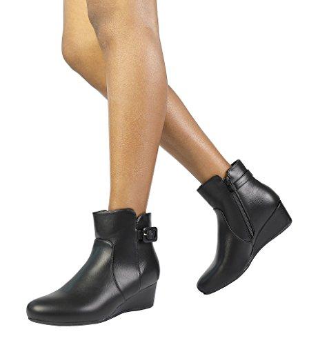 DREAM PAIRS Women's Low Wedge Heel Ankle Booties Black Pu