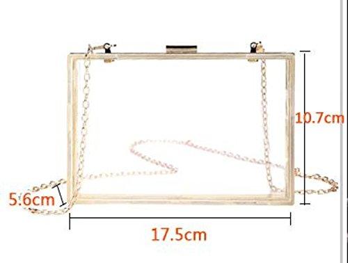 Blue Woman Acrylic Fashion Box White Square Bag Package Transparent Small Gzhgf Mirror Evening FXEwEq7