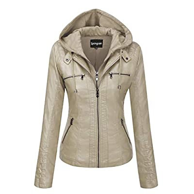 Springrain Women's Casual Stand Collar Detachable Hood PU Leather Jacket at Women's Coats Shop