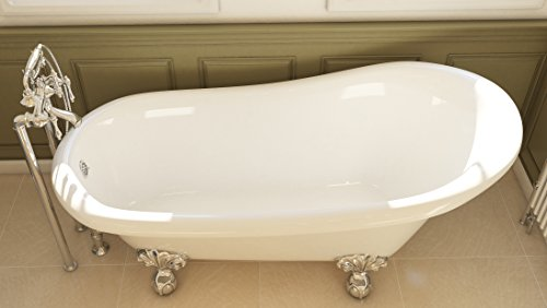 Luxury 67 inch Clawfoot Tub with Vintage Slipper Tub Design in White, includes Polished Chrome Ball and Claw Feet and Drain, from The Glendale Collection by Pelham & White (Image #7)