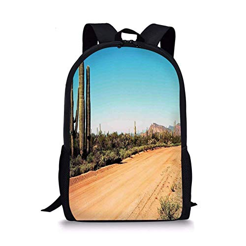 School Bags Saguaro Cactus Decor,Earth Path with Giant Cactus Plants to the South American Desert Picture,Multi for Boys&Girls Mens Sport Daypack