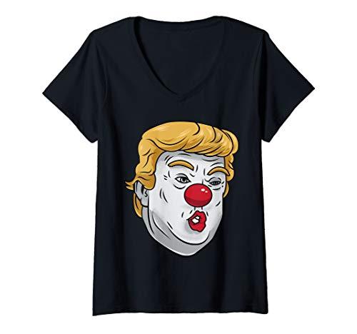 Womens Anti Trump Clown Funny Halloween Joker Trump Graphic Costume V-Neck T-Shirt -