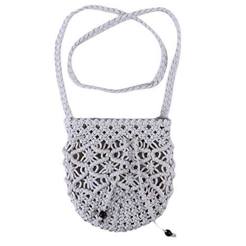 Bohemian Cotton Crossbody Bag, Women Weave Shoulder Bag Summer Beach Purse