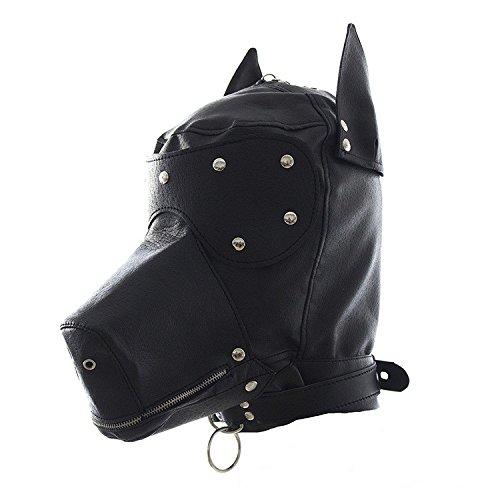 BranXin (TM)Fetish PU Leather Dog Mask Full Head Harness Gag bdsm Bondage Hood Blindfold S-e-x Slave Collar and Leash S-e-x Toys for Couples