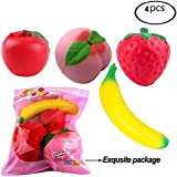 Squishies Jumbo Kawaii Fruit Slow Rising Squishy Apple Peach Banana Peach Strawberry Scented Charms Hand Wrist Rising Reduce Stress Relax Toys,4 of Pack
