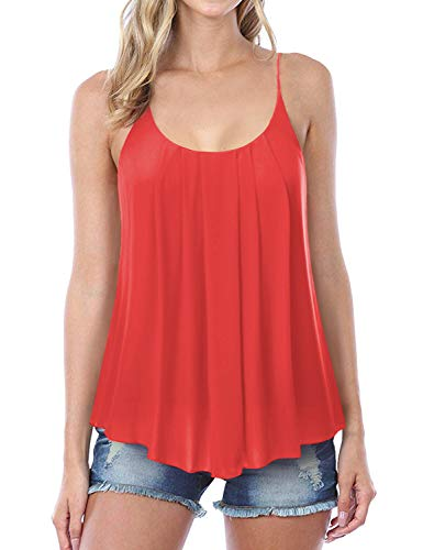 NINEXIS Women's Pleated Chiffon Layered Cami Tank Top ()