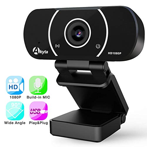 Full HD Webcam 1080p, Akyta External PC Laptop Desktop Computer Web Camera with Microphone, 90Degree Wide Angle USB Webcam for Skype YouTube Twitch OBS Game Streaming Video Conference Windows 10