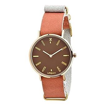 Uhr Urbanstyle Unisex zu009d Quarz (Batterie) Stahl Quandrante braun Armband Leder