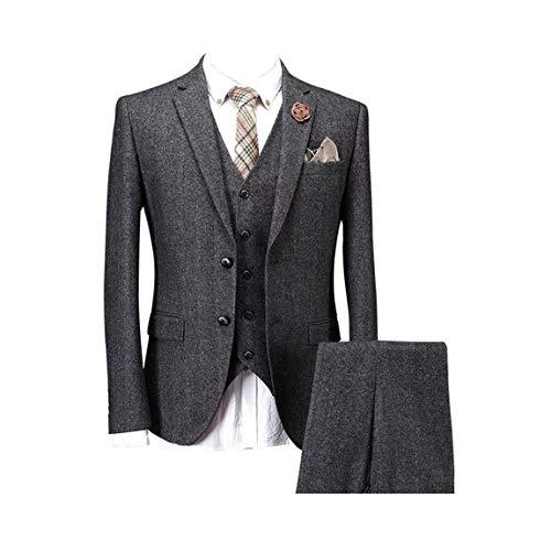 (Solid Charcoal Classic Vintage Tweed Herringbone Wool Blend Tailored Men Suit 3 Pieces)
