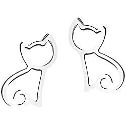 SmallDragon Girl's 925 Sterling Silver Earrings Cute Little Cat Sterling Silver Earrings Animals