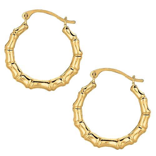 MCS Jewelry 10k Yellow Gold Shiny Bamboo Round Hoop Earrings, Diameter 18mm