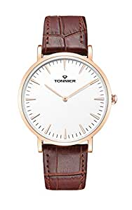 Tonnier Stainless Steel Slim Men Watch Quartz Watch Black Face (Brown Leather with Rose Gold Case)