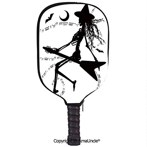 SCOXIXI Neoprene Sports Pickleball Paddle Cover Sleeve,Personalized Witch Flying on Electric Guitar Notes Bat Magical Halloween Artistic IllustrationRacquet Cover,Lightweight,Durable and -