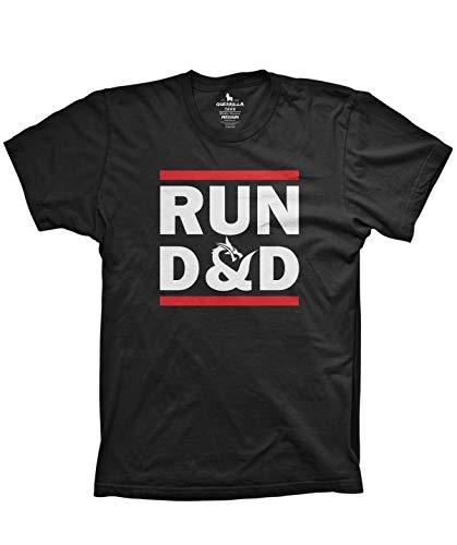 (Run D&D Shirt Funny Tshirts Board Game dice Shirt, Black, Large )