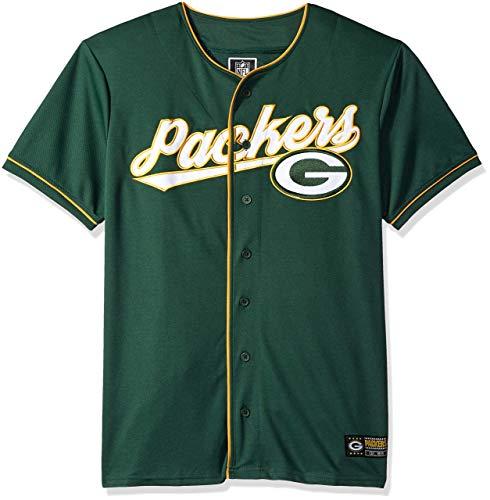 (ICER Brands NFL Men's Baseball Jersey T-Shirt Button Up Mesh Shirt, Team Color (Renewed) )