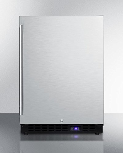 SCFF53BSSIM Frost- free Undercounter Freezer With Icemaker Digital Thermostat Stainless Steel Door Lock and Black Cabinet. by Summit