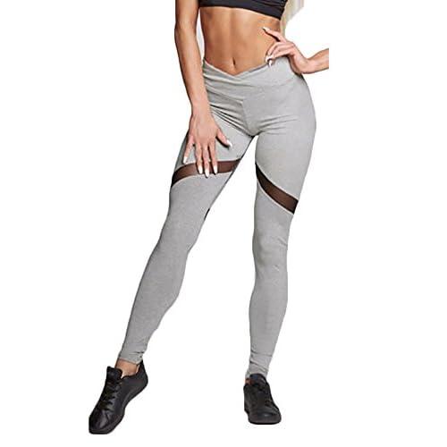 ca0ac07325 Mujer Pantalon Deporte de Yoga Leggins Mallas Cintura Alta para fitness  Running Fitness con Elastico y