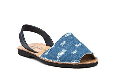 Angelitos 215, Damen Sandalen Jeans-Marineblau