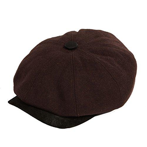 Dasmarca Mens Newspaper Boy Bakerboy Wool Cap - Eden Brown L