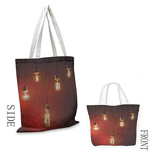 Simple casual handbag Industrial Decor Collection Old Incandescent Lamps Lighting Together on a Wall Electrical Bulb Energy Lamp Picture Canvas zipper 16.5