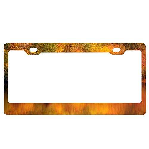 SportsFloraling Cabin Retreat in Autumn Black License Plate Frame, Car License Plate Cover for US License Tag, Aluminum Metal Auto License Tag Holder, 2 Holes and ()