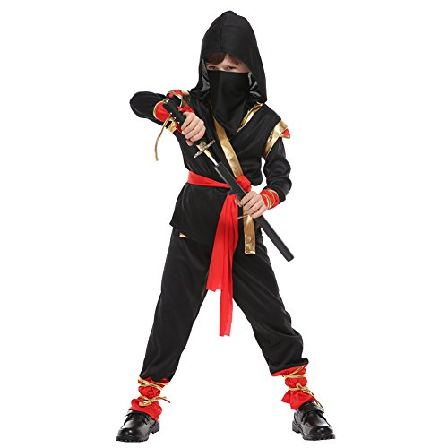 Kids Boys Ninja Costumes Halloween Warrior Fancy Dress