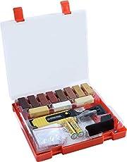 Werkzeyt Houtreparatieset 17-delig -11 verschillende tinten - incl. wassmelter, schaaf & schuurspons - geschikt voor houten oppervlakken van alle soorten/reparatieset voor parket & laminaat / B27691