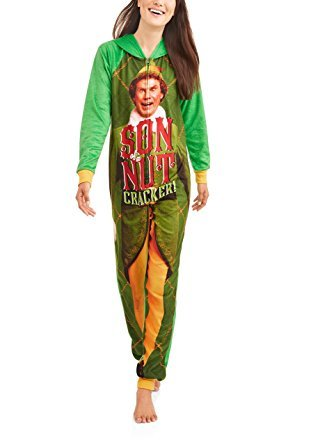 Elf Buddy The Women's Son Of a Nutcracker Pajama Union Suit One Piece Sleepwear (L (Jingle Buddies Bell)