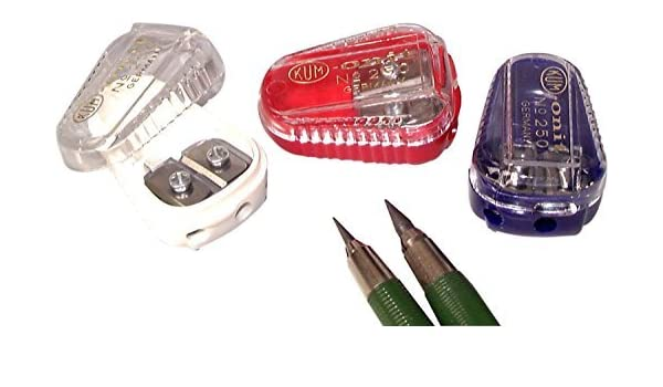 Colors Vary by KUM/&KUM Kum 105.11.21 Polystyrene Lead Pointer 2-Hole Pencil Sharpeners with Container
