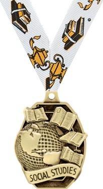 ACADEMIC Medals - 2'' Gold Social Studies Medals 50 Pack