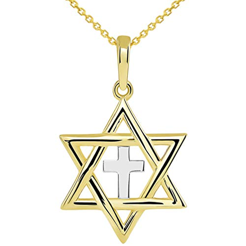 14k Yellow Gold Jewish Star of David with Religious Cross Judeo Christian Pendant Necklace, 18