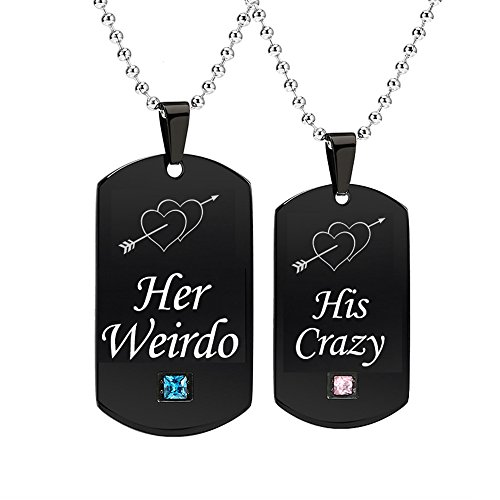 - GAGAFEEL Couples Necklace CZ Pendant His Crazy Her Weirdo Dog Tag Necklaces Anniversary Gift for Friends Women Men (His Crazy Her Weirdo)