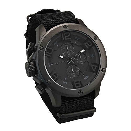 [해외][フランテンプス] Franc Temps 시계 ガヴァルニ 크로 노 그래프 나일론 벨트 (블랙) 남성 FTGC-N-FBK / [Frantenps] Franc Temps watch Galvarani chronograph nylon belt (full black) men`s FTGC-N-FBK
