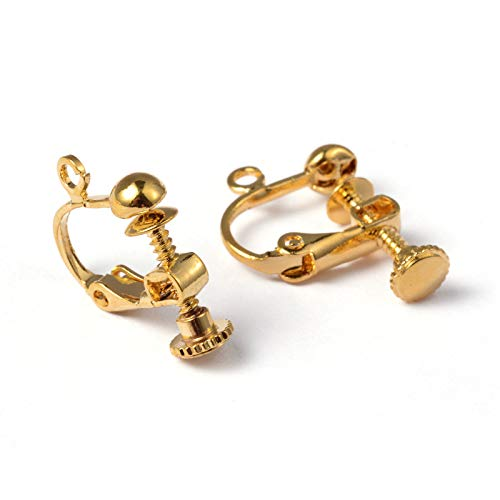 Craftdady 10Pcs Nickel Free Golden Brass Screw Back Clip On Earrings Converters 17x13.5mm Non Pierced Clip Adapters with Ring Loop