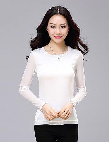 Mujer Camisa Blusa elegante mujer Blusa – Camiseta de mujer – Camiseta de mujer – Rejilla algodón/poliéster manga larga U de pico, color Rosa - fucsia, tamaño XXL: Amazon.es: Deportes y aire libre