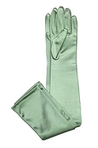 Elegant Stretch Satin Long Fabric Gloves - Opera/Full Length - Size: 23