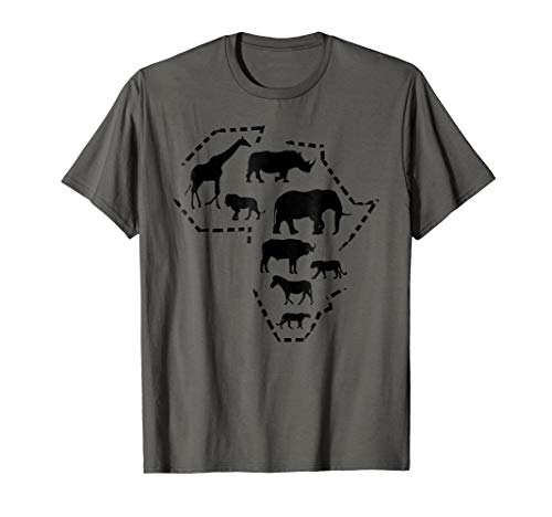 (African Wildlife T-shirt, Animals in Outline of)